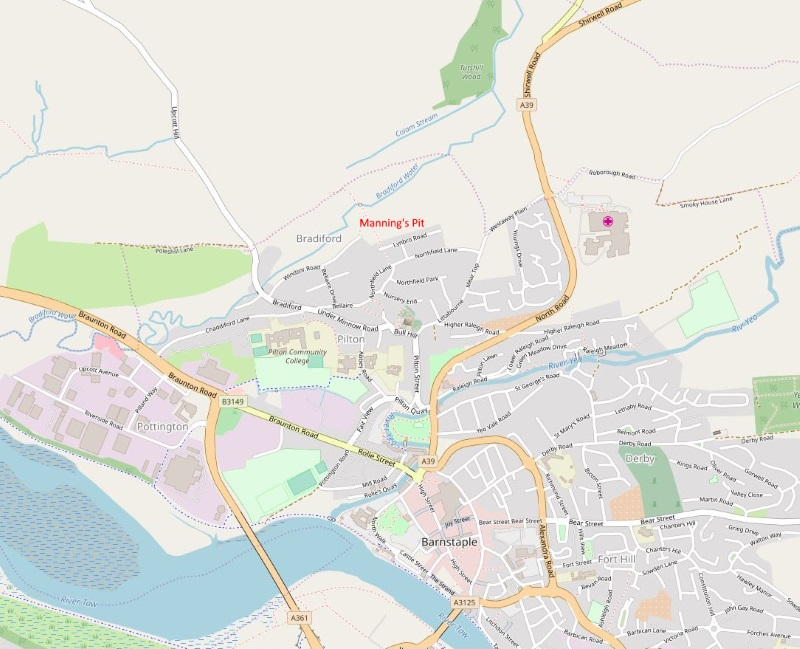 Map of North West Barnstaple shwoing Manning's Pit